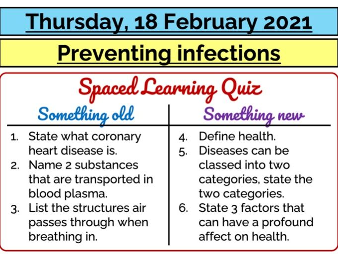 AQA GCSE (9-1) - Biology - Preventing infections
