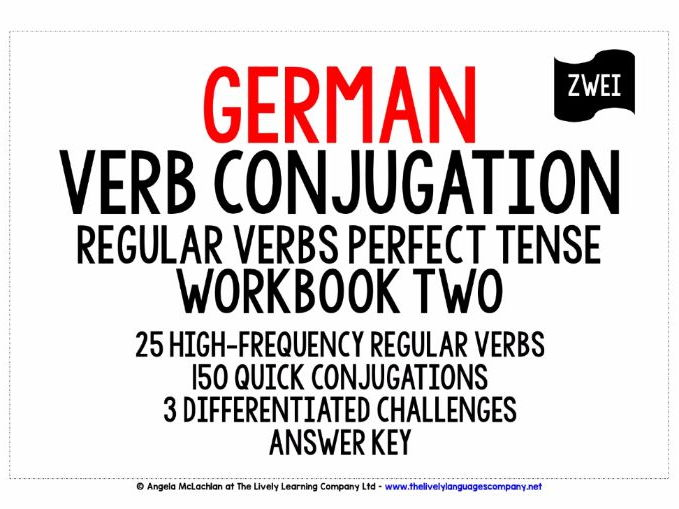 GERMAN REGULAR VERBS CONJUGATION - PERFECT TENSE WORKBOOK & ANSWER KEY