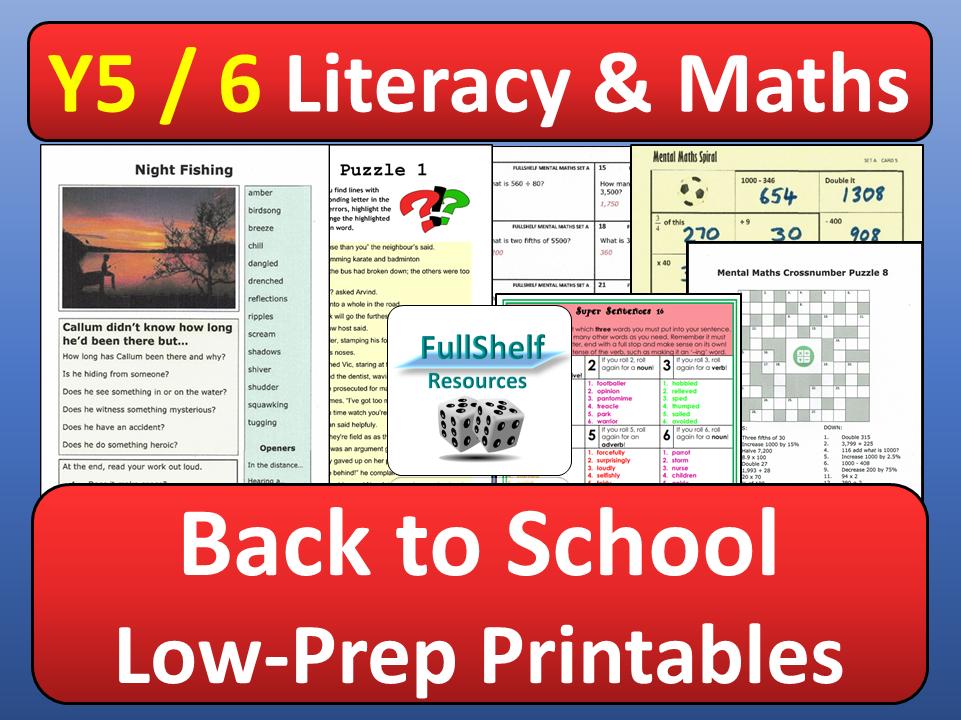 Maths  / Literacy Activities Year 5 / 6