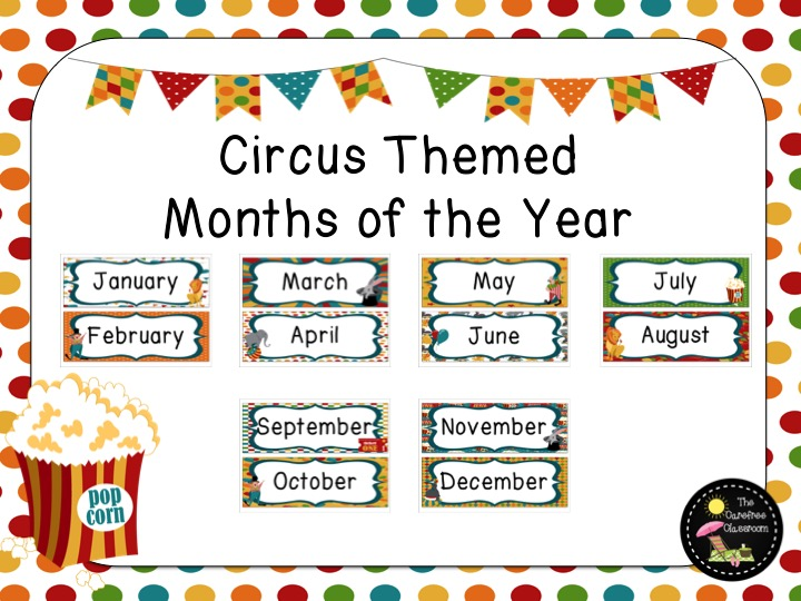 Circus Themed: Months of the Year