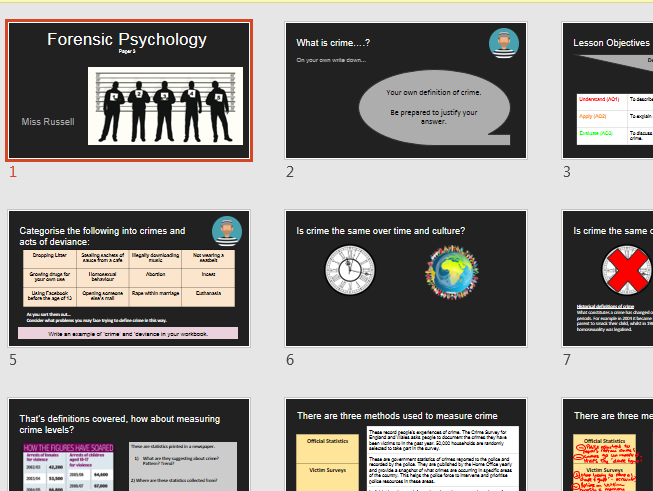 AQA A Level Psychology - Forensic Option Whole Set of Lessons