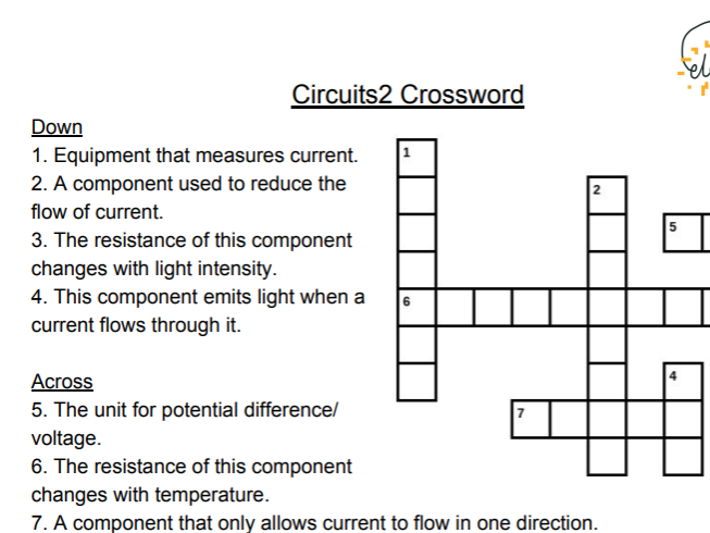 Electrical Components Keywords Crossword