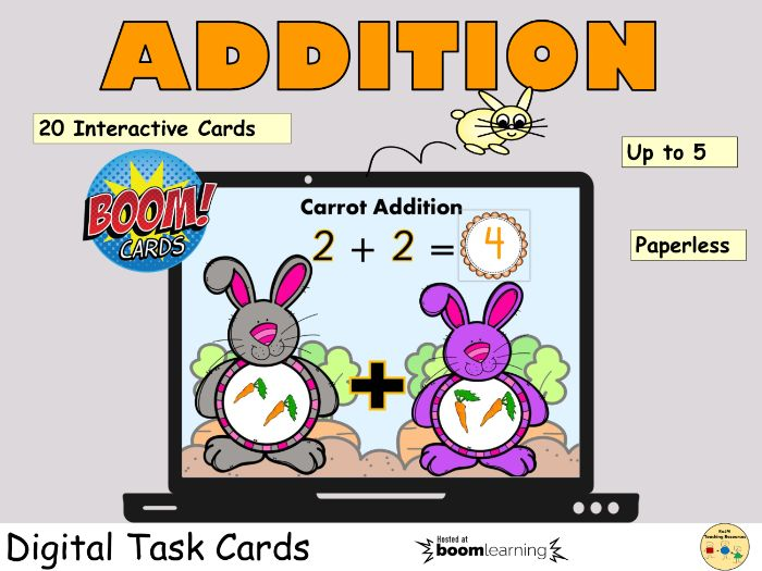 Addition up to 5 Activity BOOM Cards Distance Learning