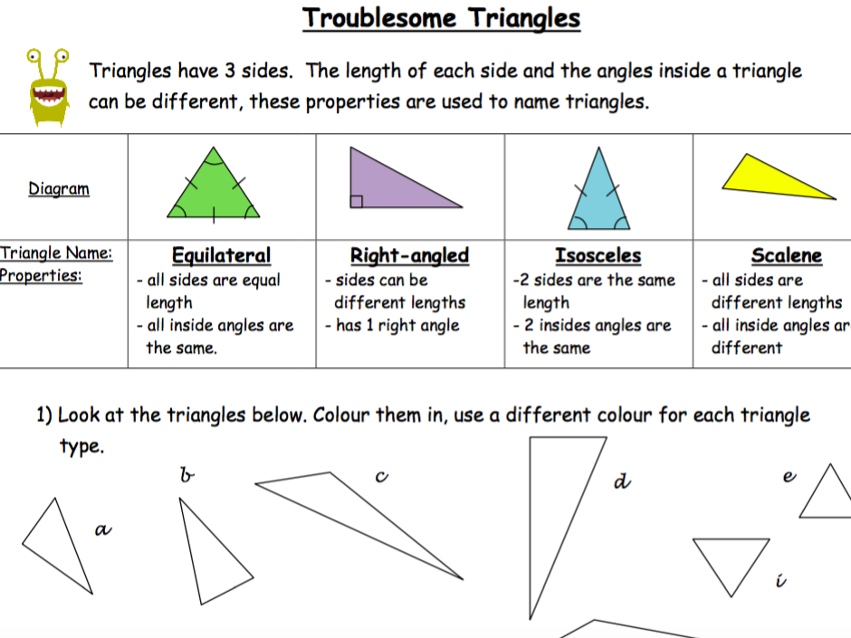 Troublesome Triangles - Classifying Triangles, Drawing Different Triangle Types
