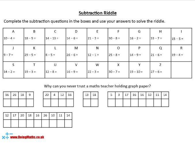 Subtraction Riddles - KS2 Maths Worksheets
