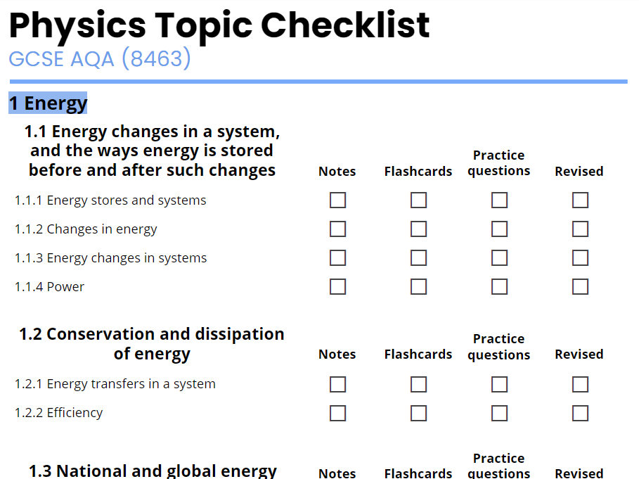 AQA GCSE Physics Revision Checklist 2016