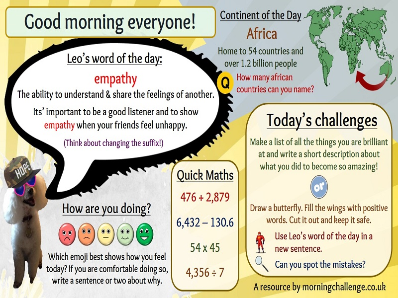 Well-being morning challenge slides