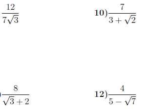 Rationalising the denominator worksheets (with solutions)