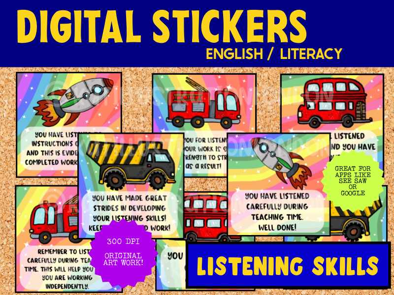 Digital Stickers RewardFor SeeSaw & Google - Listening