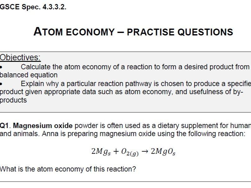 Atom Economy - practice questions (GSCE) - PDF version
