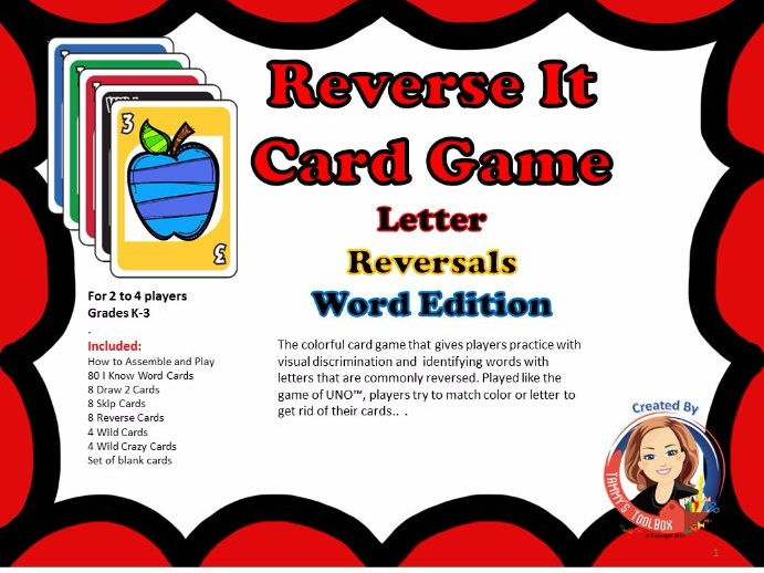 Letter Reversals Word Edition Card Game