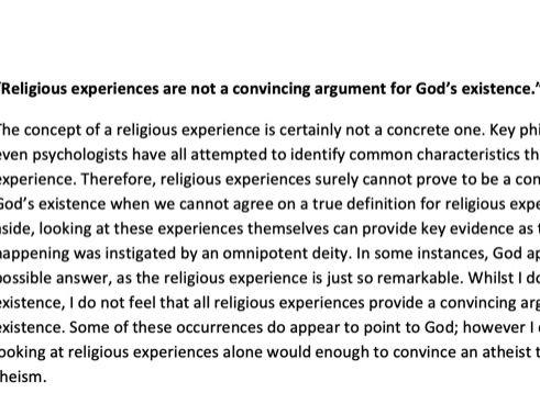 FULL MARK A* RELIGIOUS EXPERIENCE ESSAY