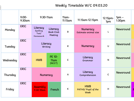 Colour coded timetable