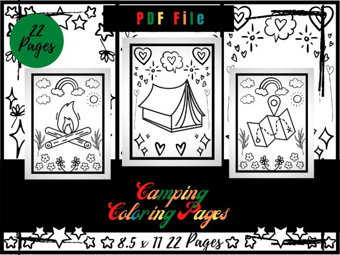 Camping Colouring Pages For Kids, Tent, Campfire Colouring Sheets PDF