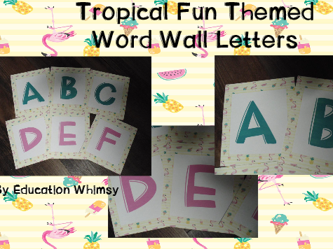 Tropical Fun Themed Word Wall Letters