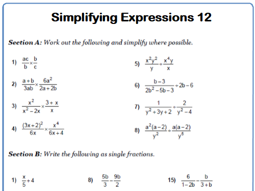 Simplifying Expressions Maths Worksheet 12