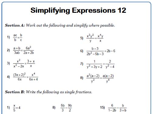 Simplifying Expressions Maths Worksheet 12