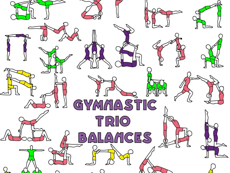 Gymnastics group balances - sports acrobatics trios