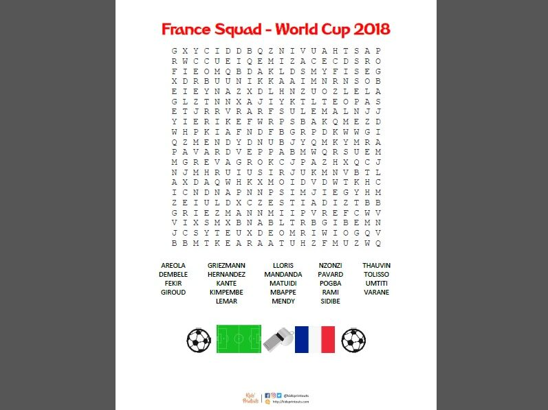 Wordsearch puzzle for the France football squad of World Cup 2018