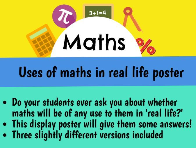 Applications of maths in real life display poster