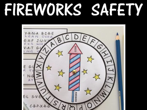 FIREWORK SAFETY -  Secret Code Wheel  -  Guy Fawkes / Diwali / 4th of July