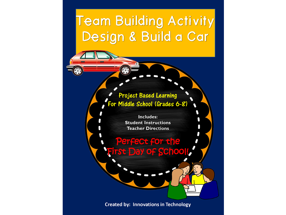 First Day of School - Index Card Car Team Building Project (Back to School)