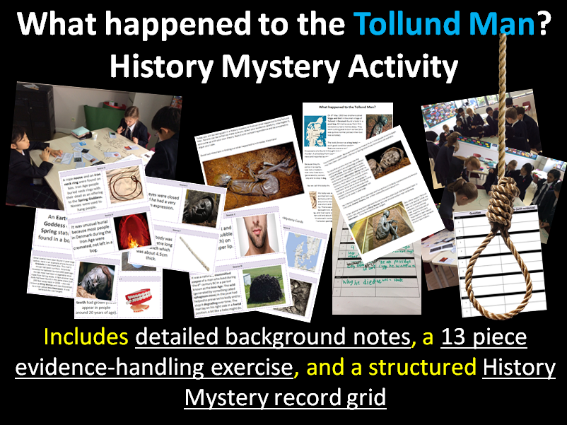 Tollund Man - 10-page full lesson (notes, history mystery cards, matrix)