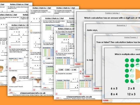 Year 4 Multiply 3-Digits by 1-Digit Spring Block 1 Step 7 Maths Lesson Pack