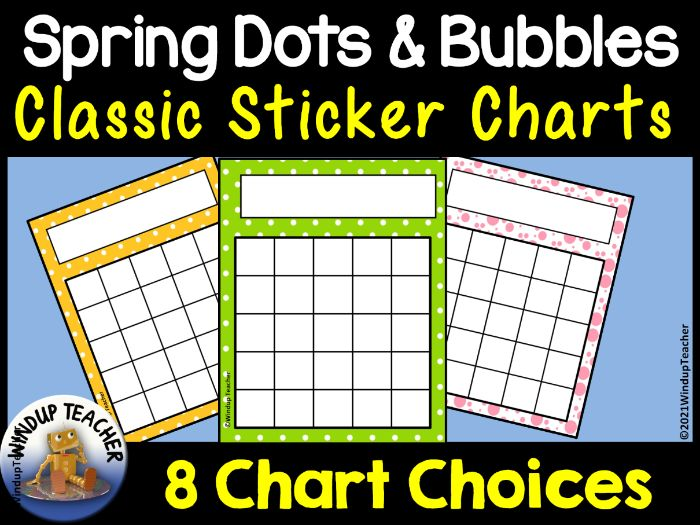 Spring Dots and Bubbles Sticker Charts