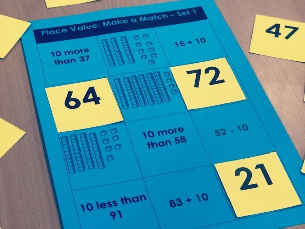 Make a Match 2-digit Number Place Value Game