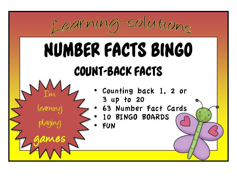 SUBTRACTION NUMBER FACTS - BINGO GAME - Count Back Strategy (Counting Back 1, 2 or 3)