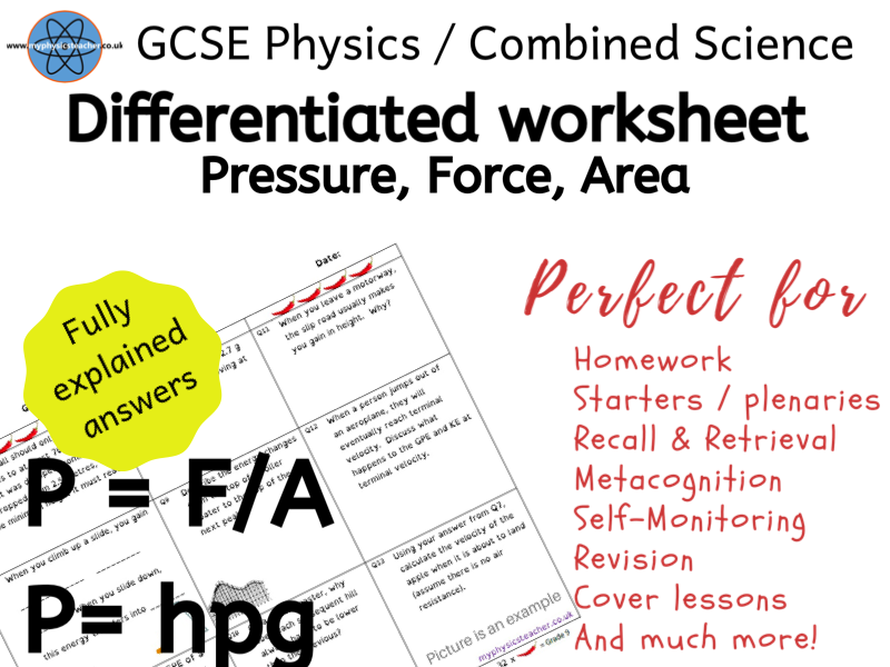 Pressure, Force, Area, Height, Density Equation - GCSE Physics Combined Science Differentiated