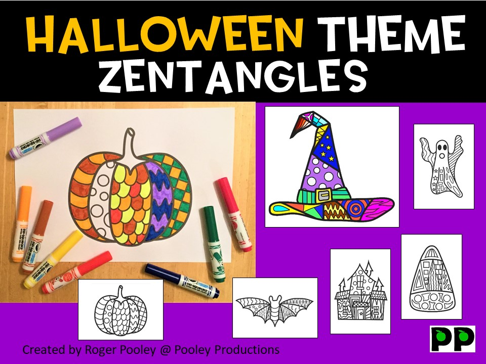 Halloween Zentangles, No Prep Colouring Pages