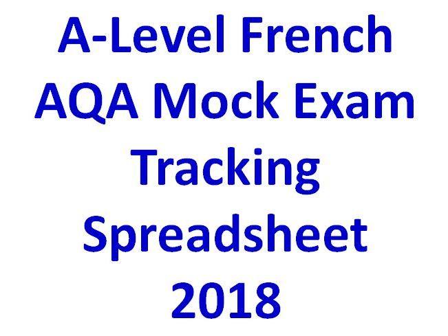 A-Level French AQA Mock Exam Tracking Spreadsheet  2018