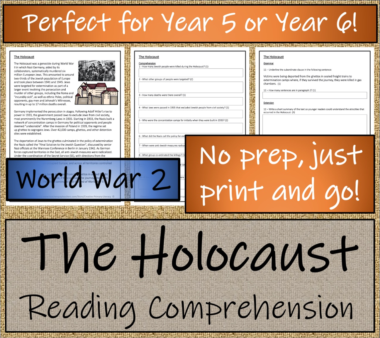 Uks2 The Holocaust Reading Comprehension Activity Teaching Resources [ 1151 x 1296 Pixel ]