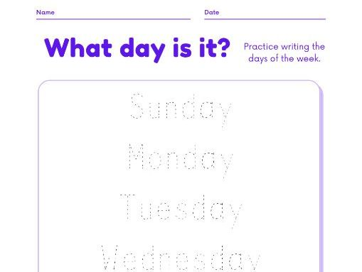 Days of the Week - Writing exercise