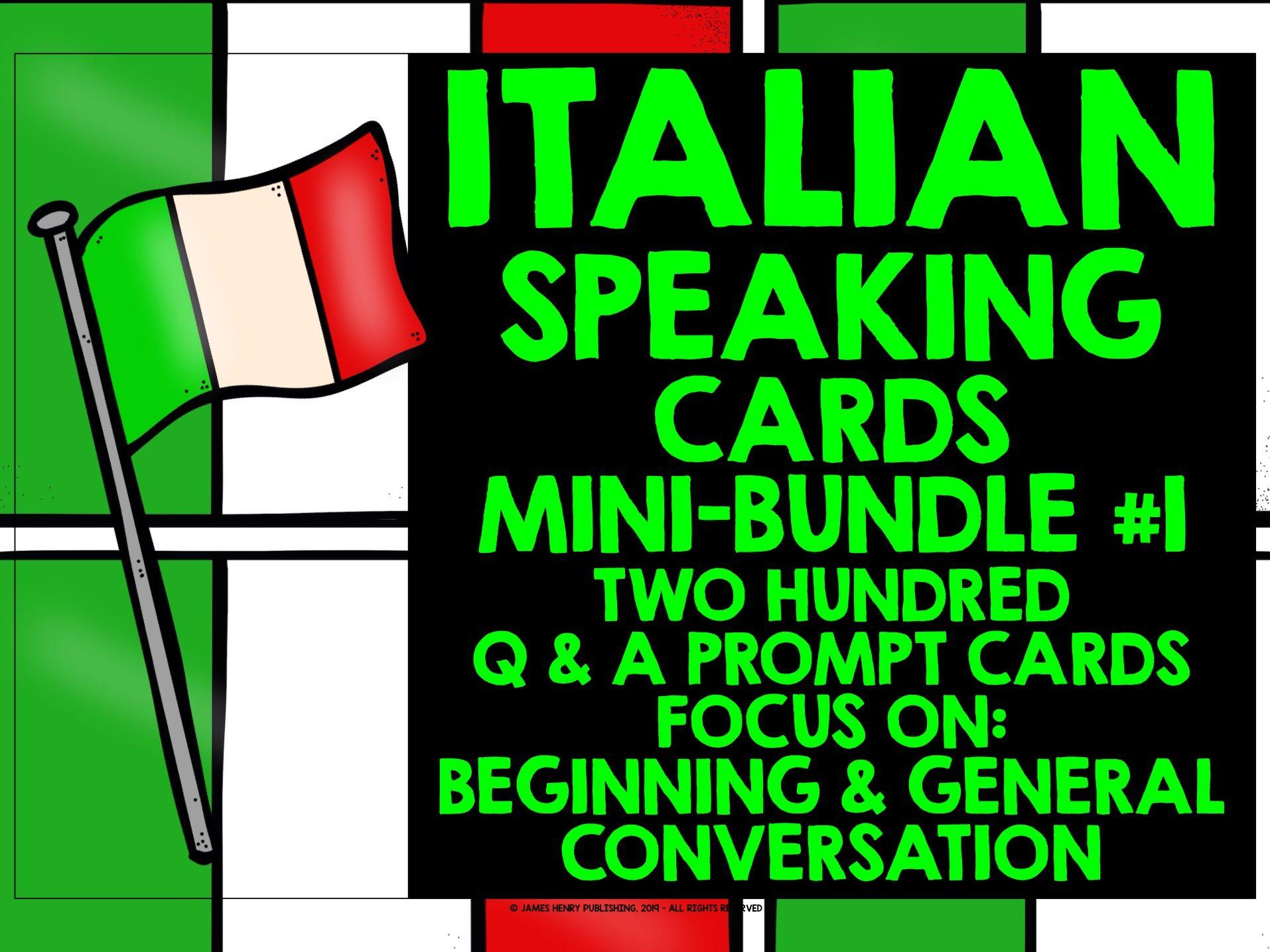 ITALIAN GCSE SPEAKING PRACTICE MINI-BUNDLE #1