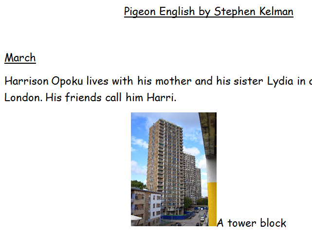 Pigeon English summary and activities for EAL Learners