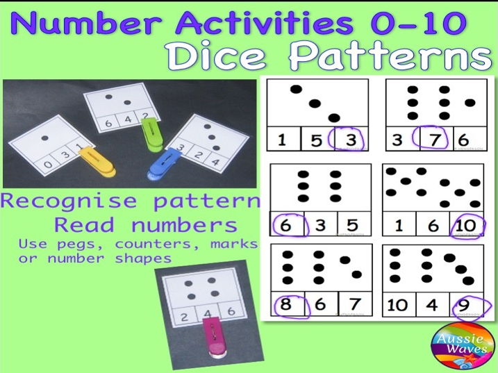 Early Maths Centre Activity COUNTING NUMBERS 0-10 DICE PATTERNS