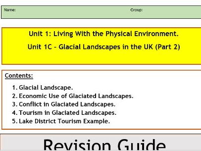 AQA GCSE 9-1 : Flipped Learning Revision Booklet-Glacial Landscapes in the UK part 2