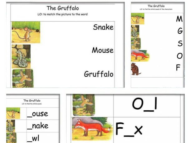 The Gruffalo by Julia Donaldson. Writing and reading worksheets.