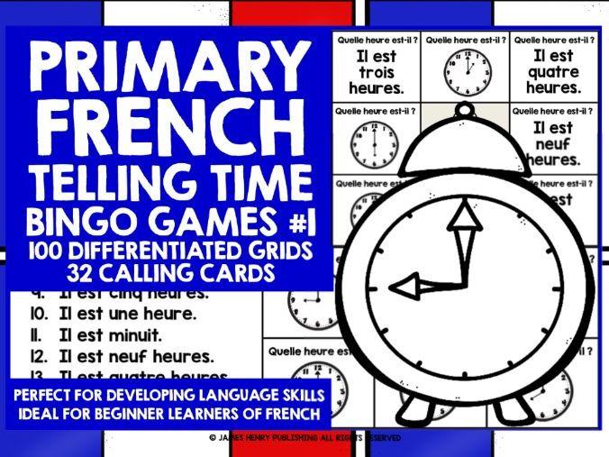 PRIMARY FRENCH TELLING TIME BINGO #1
