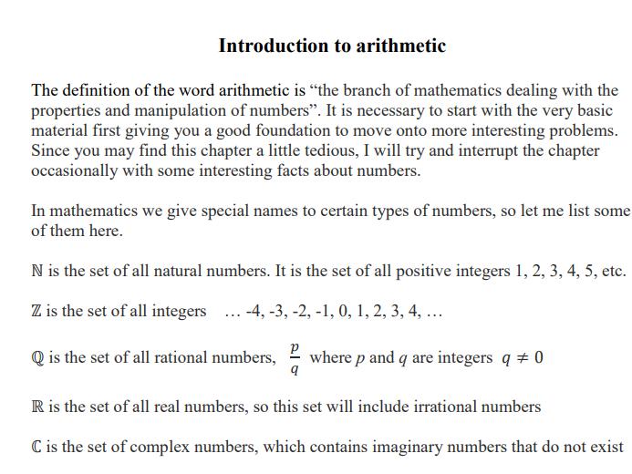 Basic Arithmetic Revision sheet (GCSE + Alevel)