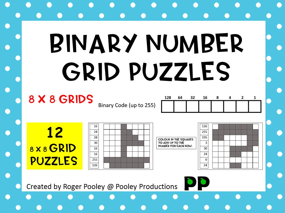 Binary Number Grid Puzzles - 8 x 8 grids