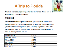 Functional skills maths practice paper a trip to Florida revision. Includes worked solution.