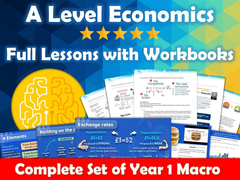 Complete Year 1 Macroeconomics Lesson Slides and Workbooks - AQA Economics