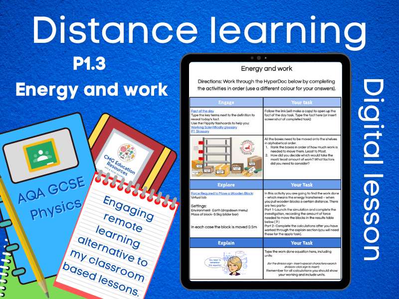 SP1.3 Energy and work: Distance learning (AQA GCSE Physics)
