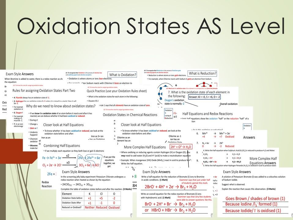 Oxidation States and Complex half Equations Lesson AS
