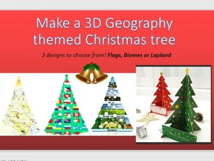 Make a Geography 3D  maps and flags Christmas tree