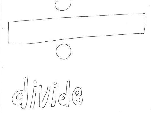 Divide: Mathematical Symbols Colouring Page